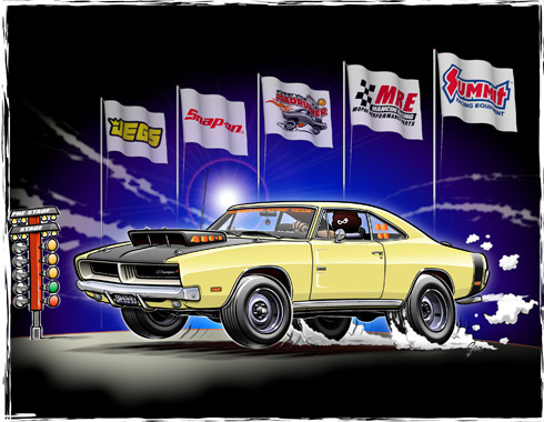 Dodge Charger Drag Racing Cartoon