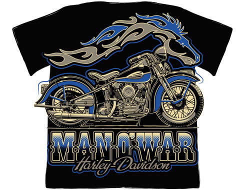 Man O' War Harley Davidson - T-shirt design